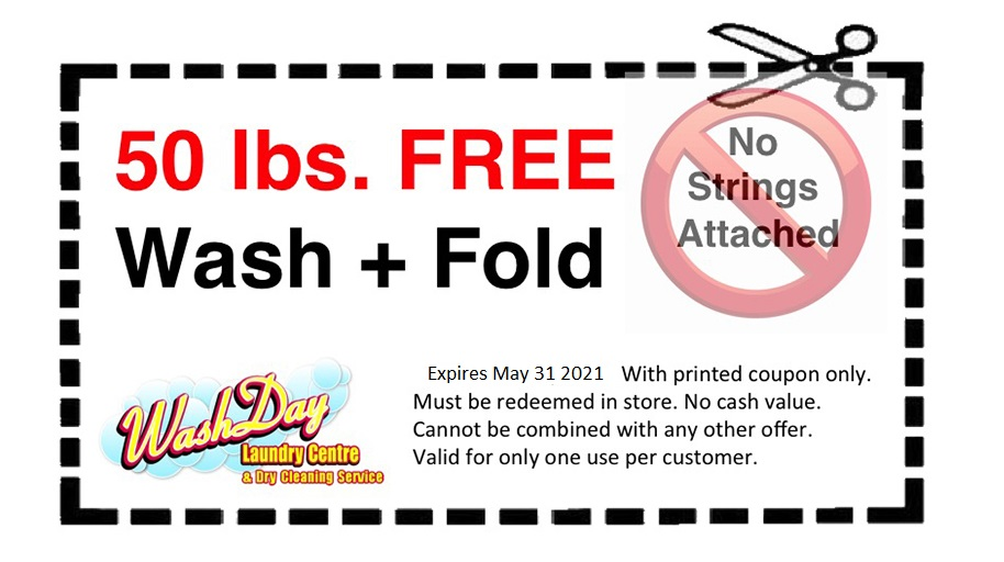 July coupons wash and fold free laundry