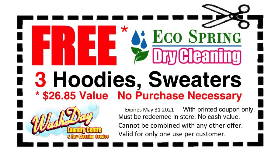 July coupons free hoodie dry cleaning